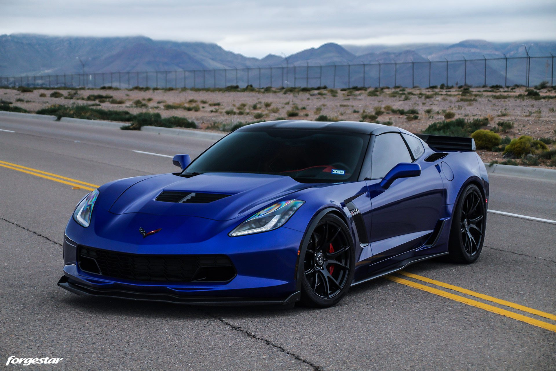 Admiral Blue Chevrolet C7 Z06 Corvette Forgestar Cf5v Wheels